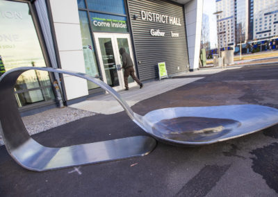 The Spoon installed outside the District Hall. (Jesse Costa/WBUR)